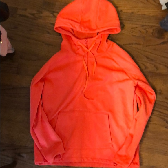Athleta Tops - Athleta bright orange fleece hoodie sweatshirt m